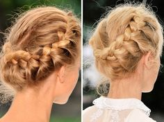 Beautiful! French braided all the way around and then tucked in and pinned on the side:)