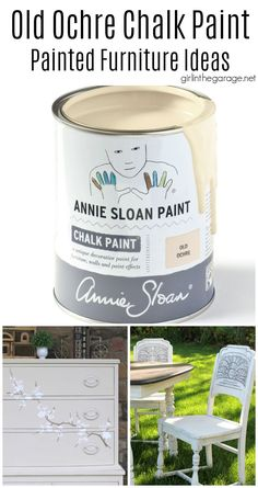 Beautiful chalk painted furniture ideas in Old Ochre Chalk Paint by Annie Sloan. Dressers, vanities, cabinets, and more. Project ideas by Girl in the Garage Annie Sloan Chalk Paint Projects, Annie Sloan Paints, Chalk Paint Furniture, Diy Furniture Projects, Furniture Makeover, Refinished Furniture, Paint Types, Paint Effects, Funky Junk