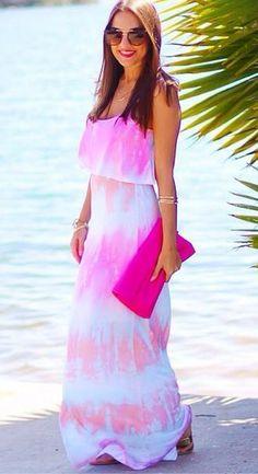 Never Say Tie-Dye Blue Maxi Dress - Lulu's