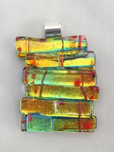 Fused glass pendant, Dichroic pendant, fused glass dichroic jewelry - Sunset yellow, orange and green pendant Dichroic Glass Jewelry, Fused Glass Art, Mosaic Glass, Glass Pendants, Glass Christmas Decorations, Stained Glass Christmas, Glass Design, Making Ideas, Jewelry Making