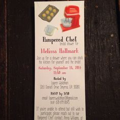 Pampered Chef bridal shower invitation