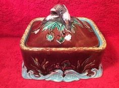 Antique-Victorian-Majolica-Sardine-Box-with-Lid-c1800s-fm1081
