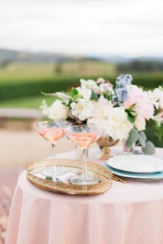 Pink Specialty Cocktails in Vintage Glasses |  | Stephanie Marie Photo | http://heyweddinglady.com/blushing-bridal-beauty-shoot-rose-quartz-serenity/