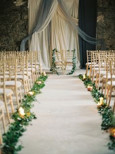 Moody candlelit aisle: http://www.stylemepretty.com/2015/11/04/charming-borris-house-wedding-in-ireland/ | Photography: Laura Gordon - http://lauragordonphotography.com/
