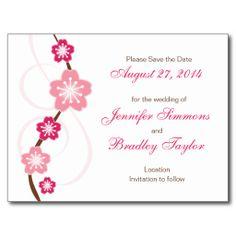 Pink Sakura Save the Date Wedding Postcard