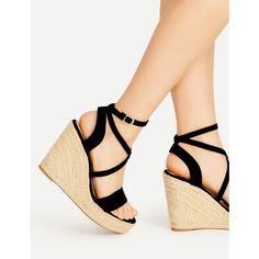 Cross Strap Espadrille Wedges ❤ liked on Polyvore featuring shoes, sandals, wedge sole shoes, espadrille sandals, wedges shoes, espadrille wedge sandals and cross strap sandals