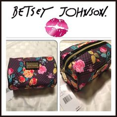 "Betsey Johnson Makeup Bag Rainbow Rock'n Skulls Loaf w/ pink polka dots and roses. Measurements 4"" 1/2 H x 7"" W x 4"" 1/2 Depth Betsey Johnson Accessories"