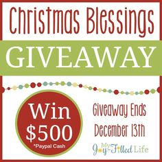 The Christmas season is upon us! And while this is a joyous and festive time of the year, it can also be a time of financial stress and worry for some. That is why I'm teaming up with 25 other bloggers to bring you a Christmas Blessings Giveaway for $500 Paypal cash! We understand the …
