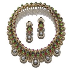 Gem-set, mother of pearl, cultured pearl and diamond necklace and a pair of ear clips, 'Bolero', Mauboussin
