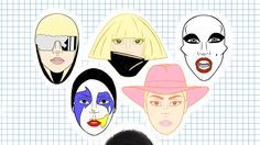 A set of 6 Lady Gaga enamel pins from each era; The Fame, The Fame Monster, Born This Way, ARTPOP, Cheek to Cheek, & Joanne.