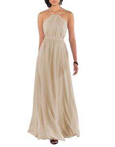 Nicefashion Womens Simple Halter Empire Ruffles Chiffon Open Back A Line Long Bridesmaid Dress Champagne US8 *** Want added info? Click the picture. (This is an affiliate link). #bridesmaiddresses