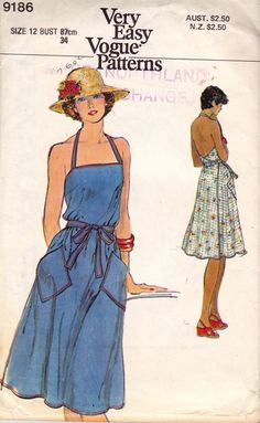 Vogue 9186 Halter Wrap Sun Dress Vintage Sewing Pattern Size 12 Bust 34 inches