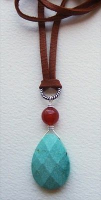 Turquoise, carnelian, leather necklace #handmade #jewelry #necklace handmade-beaded-gemstone-jewelry.com