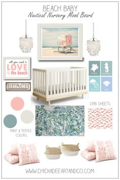 A sweet beach themed nautical  nursery for little beach babies!!!