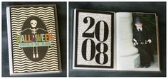 Dollar store photo album customized for Halloween costumes through the years