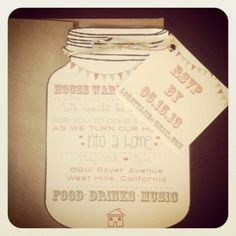 Vintage Mason Jar Housewarming Party Invitations.  Would also be cute for a barbecue theme!