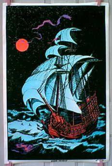 70s Black Light Posters | Details about vintage 70's MOON VOYAGE Blacklight velvet Ship POSTER