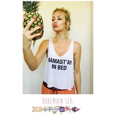 """Namast'ay in bed"" Crop Top Super cute for the summer or wearing around the house to chill! ***Available in sizes S,M,L❤️PLEASE DO NOT PURCHASE THIS LISTING, Comment below with your size and I will make you a personal listing Bohemian Sea Tops Crop Tops"