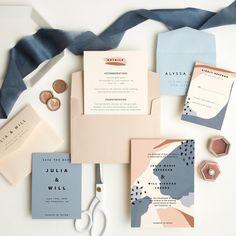 Fun blue, blush and white color combo for your wedding invitation suite! Stationary Design, Wedding Stationary, Wedding Invitations, Invites, Graphic Design Branding, Packaging Design, Logo Design, Corporate Design, Design Design