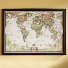 French executive world map world political map earth toned poster size and framed gumiabroncs Gallery