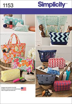 Simplicity Patterns Accessory Bags, OS (ONE SIZE): Keep organized with these bag accessories. Pattern includes tote bag, purse, cosmetic cases in different shapes and sizes and tissue case. Easy Sewing Patterns, Purse Patterns, Simplicity Sewing Patterns, Sewing Ideas, Sewing Tips, Clothes Patterns, Craft Patterns, Sewing Hacks, Stitch Patterns