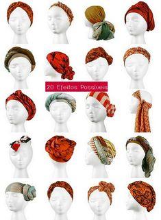 formas de usar lenço no cabelo