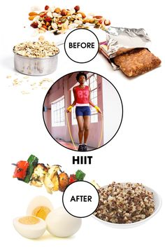 "Before: Consider the word ""intense"" in High-Intensity Interval Training—it's quick, but those few minutes really put your body through the ringer. It means that fueling up with efficient energy beforehand is crucial. ""Nuts and seeds are high in fiber and cover all your macronutrient bases, such as carbs, proteins, and fat, to keep you satisfied and energized,"" says Snyder. ""You can also try about ½ cup of oatmeal, which will give you a quick boost of energy for a great workout."" If you're…"