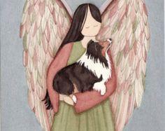 Tri-color shetland sheepdog (sheltie) in angel's arms / Lynch signed folk art print