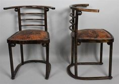 """<b>ASSEMBLED SET OF FOUR JOSEF HOFFMANN BENTWOOD """"FLEDERMAUS"""" SIDE CHAIRS MODEL 728, CIRCA 1905</b> Hoffmann, an architect and designer, was co-founder of the Viennese Secessionist movement of 1903; this iconic design was used for the theater cabaret 'Fledermaus' in Vienna in 1907 where the venue was conceived for the Viennese avant-garde to congregate; chairs with curved crest rail above three conforming horizontal stick splats, shaped seat with reddish-brown leather upholstery and nail…"""