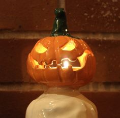ceramic jack o lantern candle or candy by roguevalleyvintage halloween ceramic pinterest halloween carved pumpkins pumpkin carving and candy corn - Ceramic Halloween Decorations