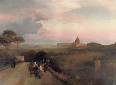 Oswald Achenbach - 1883 Pilgrims on the Via Cassia, Rome