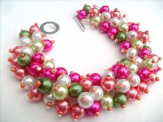 Beaded Bracelet Bridesmaid Gift Beach Wedding Hot Pink and Coral by KIMMSMITH, $19.00