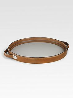Ralph Lauren Home Saddle Leather Henley Round Tray Accessories Display, Home Decor Accessories, Decorative Accessories, Leather Tray, Saddle Leather, Oval Ottoman, Essential Oil Storage, Round Tray, Tray Decor