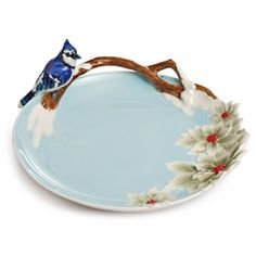 "Franz Collection ""Song Bird"" Blue Jay Porcelain Ornamental Plate"