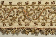 The edge from trousers, 16th century Italian. Linen, silk and metal thread.