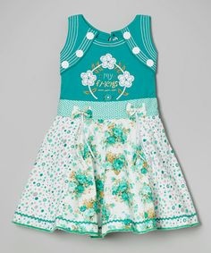 Another great find on #zulily! Green & White Floral Panel Dress - Toddler & Girls by Roberto Toscani #zulilyfinds