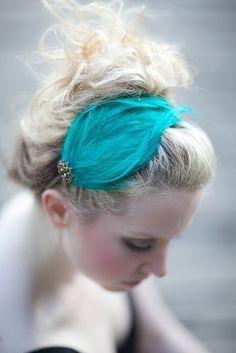 blue-green feather headband