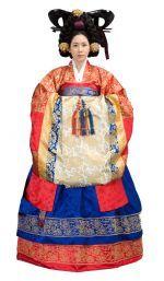Hwarot(활옷) and Dalryung(단령) set(Korean style wedding costume) for bride and groom. Traditional Korean wedding.