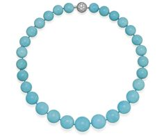 TURQUOISE AND DIAMOND NECKLACE, TIFFANY & CO. The necklace is composed of twenty-nine graduated polished turquoise beads fastened by a ball clasp pave-set with brilliant-cut diamonds. Mounted in Platinum, signed T & Co.