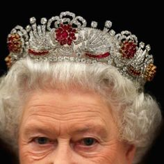 The Burmese Rose Ruby tiara commissioned by Queen Elizabeth from Garrard in 1973 using gems she already had. Ninety-six rubies, which were a wedding present from the people of Burma, and diamonds taken from the Nizam of Hyderabad Tiara.