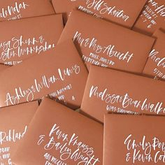 Where the ocean meets the sand is where we were inspired to go coastal with this terracotta and blue wedding color palette. Orange Wedding Invitations, Wedding Envelopes, Wedding Stationary, Calligraphy Envelope, Wedding Calligraphy, Calligraphy Alphabet, Islamic Calligraphy, Calligraphy Doodles, Envelope Lettering