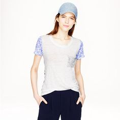 J.Crew - Linen ditzy floral tee   Can I have it in both colors?