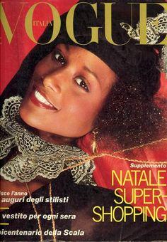 Vogue Italia December 1977: Beverly Johnson by Norman Parkinson Hair Aldo Coppola Makeup Pikenz the First