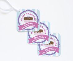 Tags de agradecimento personalizadas para festa no tema doceria ou confeitaria. Você mesma imprime em casa!