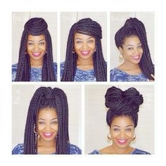 My top 5 quick and easy #boxbraid hairstyles ... And I've named them all! Lol  Top left to bottom right:  Crown, Swoop, Laquisha, Janet and B.B. (Braided Bun)  They each take less than 3min !! I'm all about the cute, but quick and easy, hairstyles  SB- Trying to find time to do a quick tutorial  before I take them out ... Fingers crossed   Make sure you subscribe to my channel, if you haven't done so already, so you don't miss out on any of my videos  (link is in my BIO)