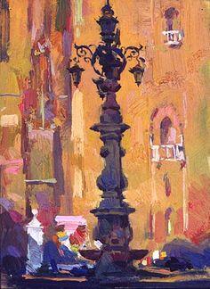 "Spain 1 Scott Burdick ""Plaza Virgin de los Reyes"" Sevilla, Spain oil 8 3/4"" by 6 1/4"""