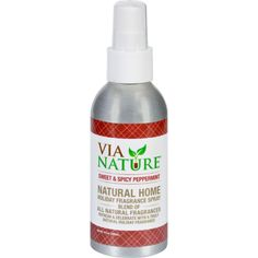 Via Nature Room Spray - Holiday - Sweet and Spicy Peppermint - 4 oz - Via Nature Holiday Room SpraySweet and Spicy Peppermint Organic: NA Gluten Free: No Dairy Free: Yes Yeast Free: No Wheat Free: No Vegan: Yes Kosher: No GMO Free: NA Summer Melt Risk? No Country Origin: USA Dimensions: 1.75 in. L x 1.75 in. W x 5.75 in. H Pack: 1 Size: 4 FZ Selling Unit: each. Health Beauty. Weight: 0.32
