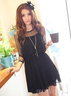 Top Quality Pleated Split Joint  Lace Dress