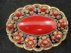 Vintage Czechoslovakia Red Glass Enamel Flower Brooch