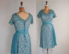 vintage 1950s 50s dress // lace cocktail dress // Dancing The Night Away